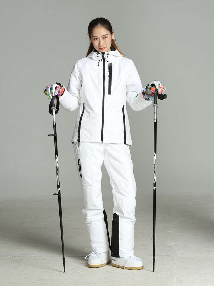 2019 Ski Suit Women White Ski Jacket Women Snowboard Suits Female Winter Sport Suit Skiing Mountain Snowboarding Snow Clothes