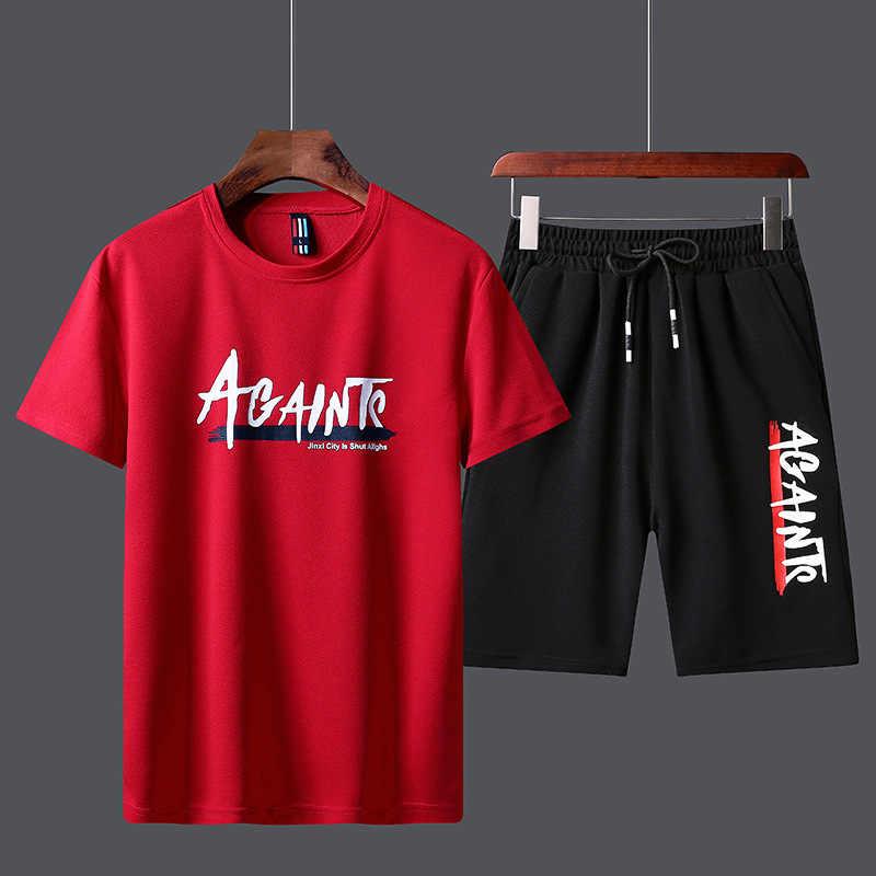 Conjunto de roupas esportivas para o verão, camiseta, bermuda de marca, moletom para esportes, marido