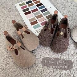 Primavera e outono 2019 sapatos de couro para meninas coreanas, sapatos de fiapos, sapatos de feijão para crianças, antiderrapante, solas macias.