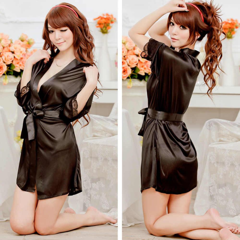 Seksi kadın erotik iç çamaşırı iç çamaşırı artı boyutu saten dantel siyah Kimono Intimate pijama Robe seksi gece elbisesi