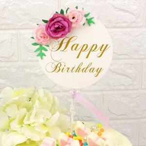 Image 3 - Décoration de gâteau danniversaire pour enfants, garniture de fleurs, fête des mères, fournitures de gâteau danniversaire pour bébé, décoration de gâteaux
