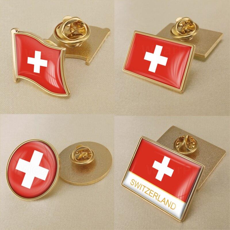 Brasão de armas da suíça mapa switzer bandeira nacional emblema broche emblemas lapela pinos