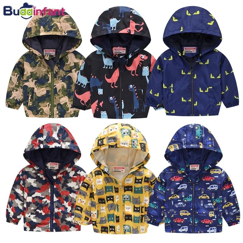WARMSHOP Baby Girls Cartoon Printing Outerwear Windbreaker Waterproof Raincoat Ruffle Zipper Hooded Jackets Coat