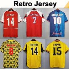 02 05 henry bergkamp v. Persie masculino retro camiseta 94 97 vieira merson adams camisa curta