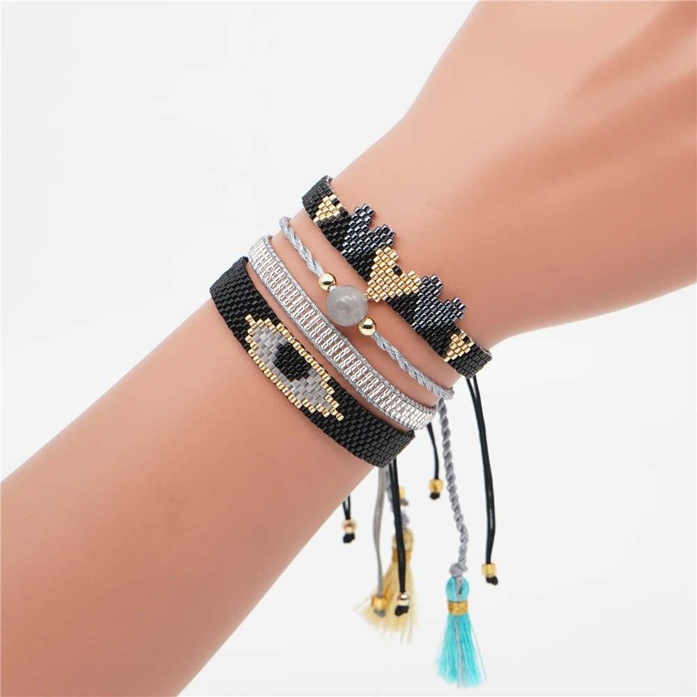 Go2boho Evil Eye Bracelet MIYUKI Heart For Women Miyuki Joyeria Jewelry Pulseras Mujer 2019 Tassel Handmade Loom Woven