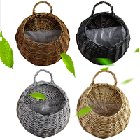 Wall Flower Hanging Basket Natural Wicker Plant Holder Pot Rattan Vase Basket Home Garden Balcony Decorations Storage Container