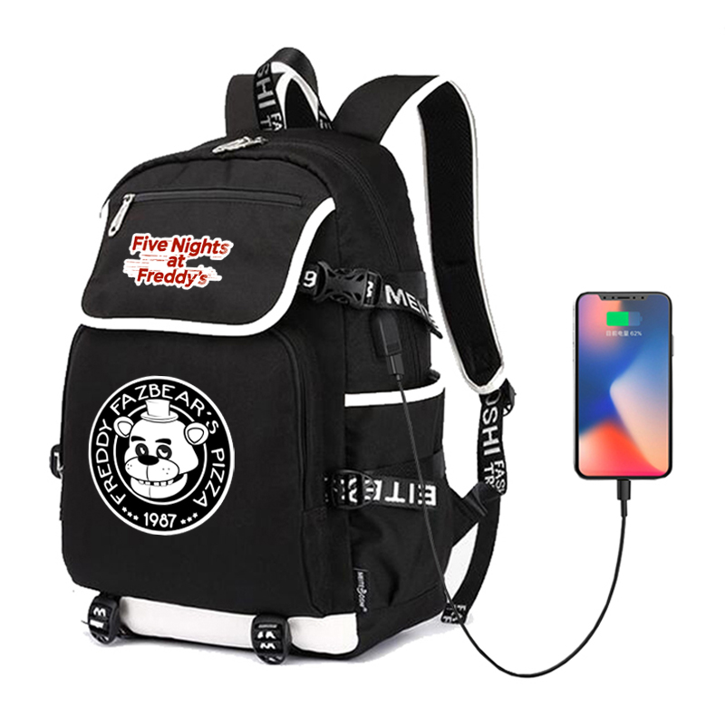 FNAF USB Backpack School Bags For Women Men Five Nights At Freddy's Casual Backpack Travel Bag Teenagers Student's School Bag