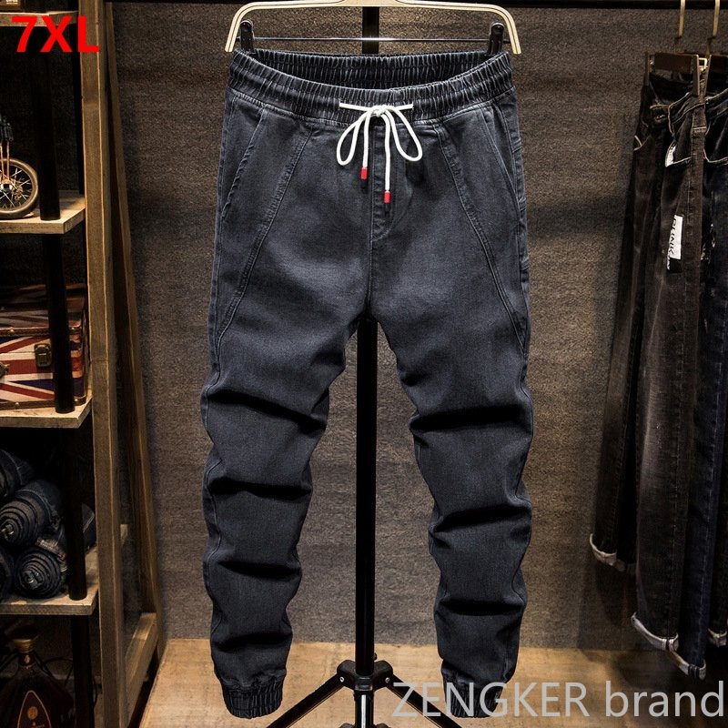 Autumn And Spring Models Elastic Waist Harlan Jeans Men's Tide Brand Fat Fat People Large Size Small Feet Closing Tooling Beam