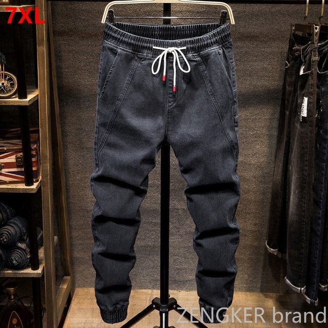 Autumn and spring models elastic waist Harlan jeans mens tide brand fat fat people large size small feet closing tooling beam