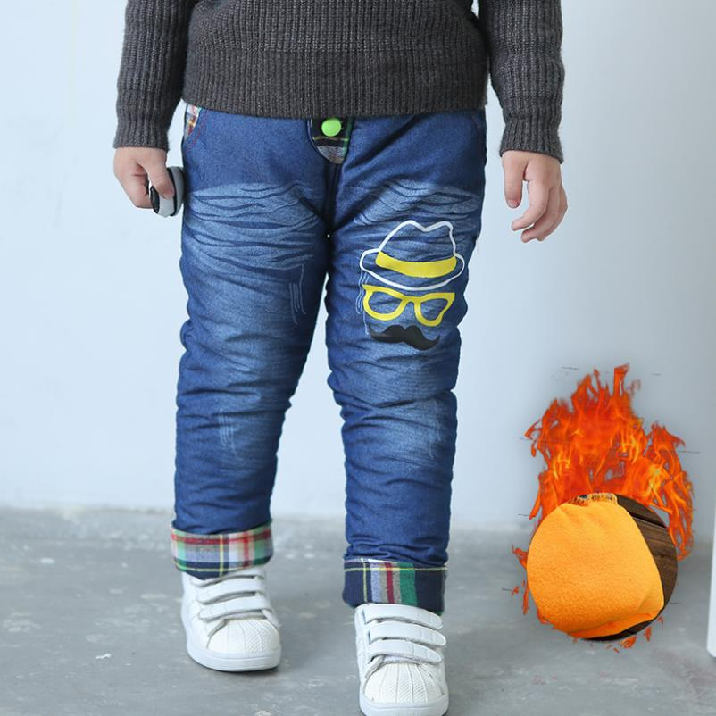 2019New Fashion Girls Autumn Winter Thicken Jeans Baby BoyEmbroidery  Jeans Kids Elastic Waist Winter Trousers Warm Pants 2