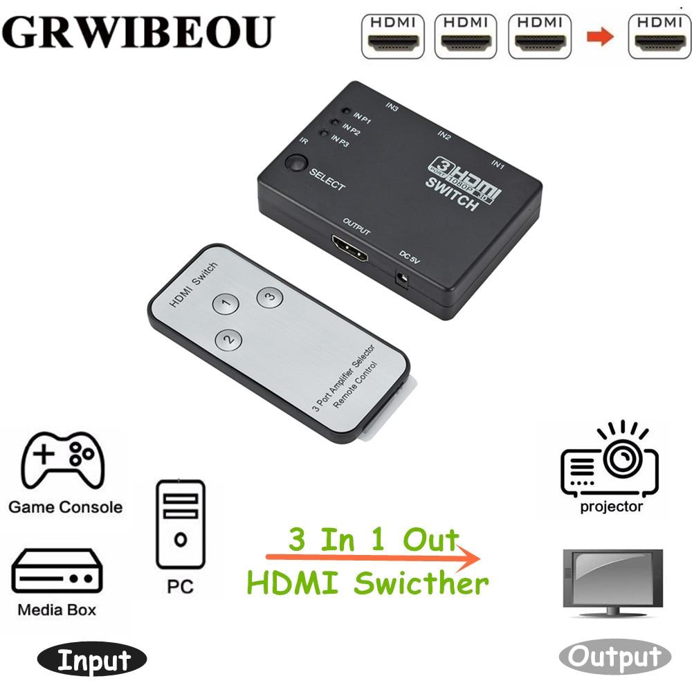 Grwibeou 3-в-1 выключатель, 3-портовый концентратор, автоматический переключатель, 3-в-1 HDMI сплиттер 1080p HD 1,4 с пультом дистанционного управления дл...