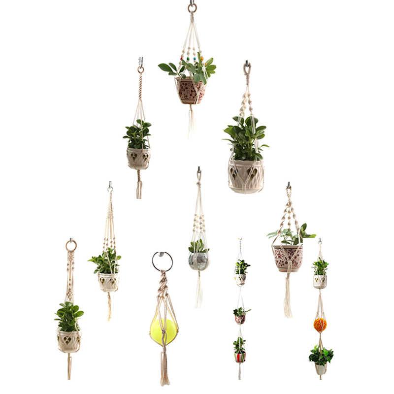 Macramé colgador de planta diferentes diseños-cesta hecha a mano para colgar en la pared interior