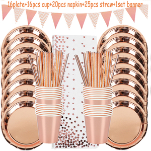 78pcs/set Rose Gold Party Disposable Tableware Set Rose Gold Cup Plates Straws Adult Birthday Party Decor Bridal Shower Supplies