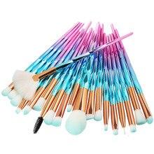 20Pcs יהלומי איפור מברשות סט אבקת קרן סומק מיזוג צלליות שפתיים קוסמטי יופי איפור מברשת Pincel Maquiagem