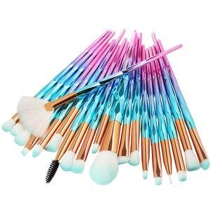 Image 1 - 20Pcs יהלומי איפור מברשות סט אבקת קרן סומק מיזוג צלליות שפתיים קוסמטי יופי איפור מברשת Pincel Maquiagem