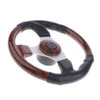 320mm Wooden 3 Spoke 3/4'' Boat Steering Wheel Marine Yacht Pontoon Boat Wheel & Soft Grip, Center Cap