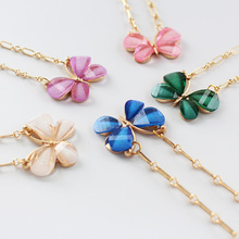 CHENFAN 2020 Butterfly Pendant Necklace Womens Jewelry Gift Fashion Champagne Gold Elegant Sweet