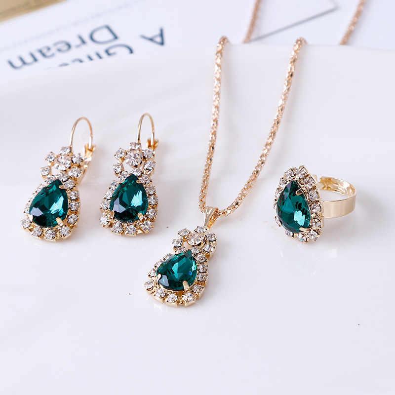 Moda turecka biżuteria piękna cyrkonia obiad trzyczęściowy naszyjnik kolczyki pierścień austriacka kryształowa biżuteria ślubna kobiet