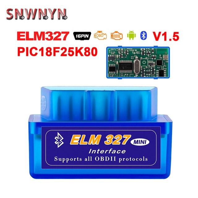 새로운 OBD V2.1V1.5 미니 ELM327 OBD2 블루투스 자동 스캐너 OBDII 2 자동차 ELM 327 테스터 진단 도구 안 드 로이드 Windows 심비안