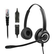 228MP QD RJ9 auriculares de centro de llamadas HD Binaural auriculares USB inalámbricos con reducción de ruido doble auriculares de Servicio al Cliente con micrófono