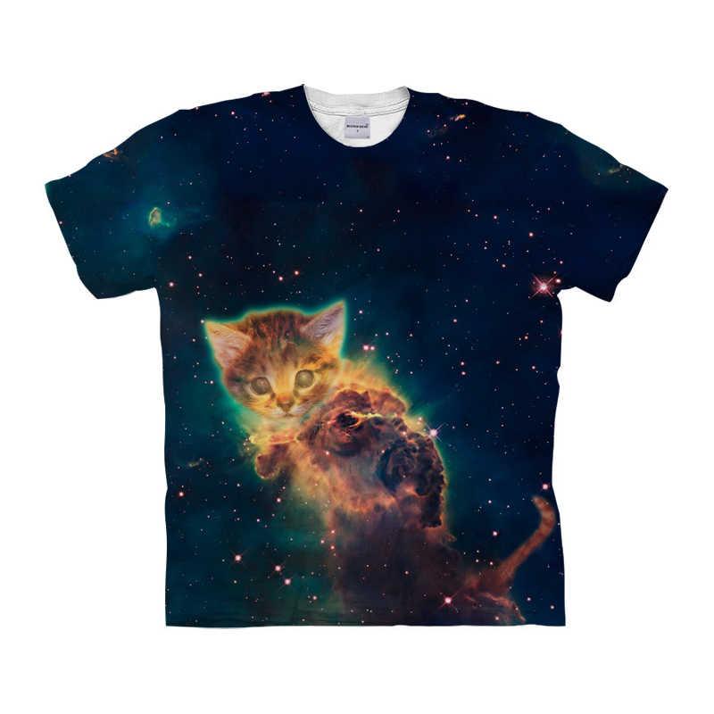 Funny Galaxy Cat พิมพ์เสื้อยืดผู้ชายผู้หญิงน่ารักแมวออกแบบเสื้อ Tee เสื้อแขนสั้น Homme ฤดูร้อนชายเสื้อ DropShip