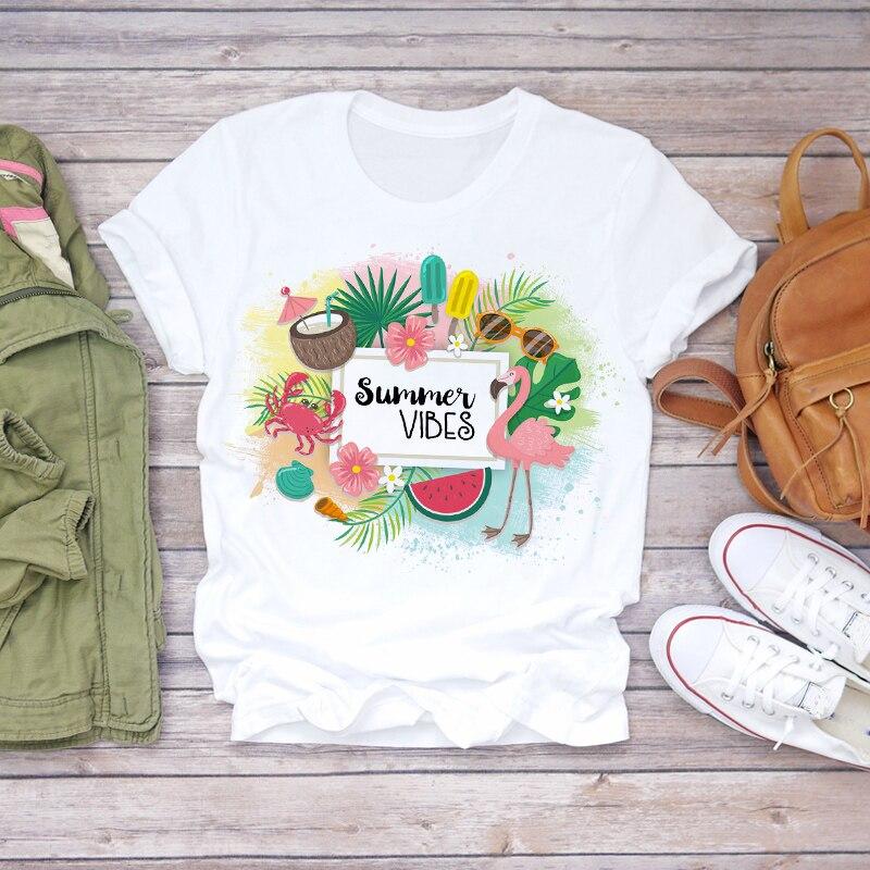 Mujer 2020 verano playa Vacay Flamingo fruta Linda historieta camiseta de mujer Top camiseta señoras mujeres gráfico camiseta femenina Conjunto de ropa de bebé recién nacido para traje de verano para chicos conjunto de sombrero + mameluco a rayas + traje azul conjunto de ropa informal para niños y niños