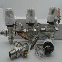 Válvula termostática de bronze do radiador da válvula de três vias para o tipo t do sistema de aquecimento do controlador de temperatura da válvula economia de energia 30-70degree