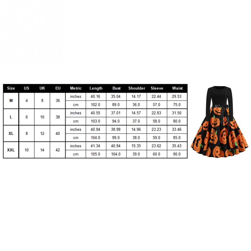 Fancy Pumpkin Printed Halloween Dress Long Sleeve Mid Length Princess Swing Dress Ladies Costume for Festival Party M-XXL 3