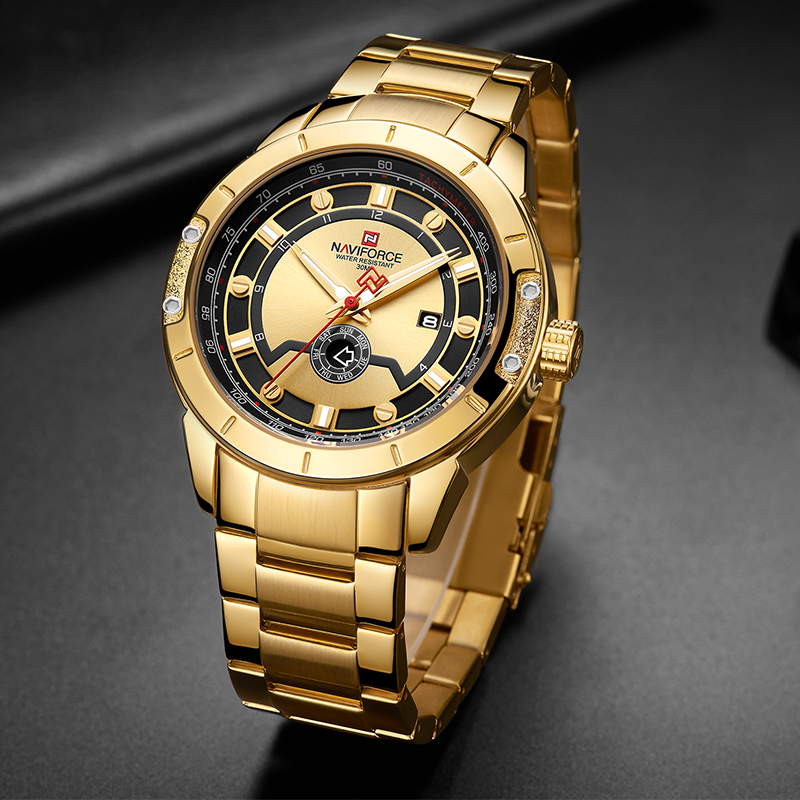 Image 5 - Luxury Brand NAVIFORCE Men Steel Strap Gold Watch Mens Quartz Clock Date Sport Waterproof Wrist Watches Relogio Masculino 2019-in Quartz Watches from Watches