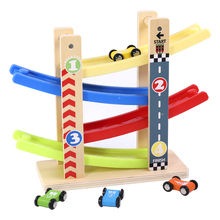 Kidus rampa pista da corsa auto da corsa in legno regalo giocattolo con 4 auto giocattoli per bambini Diecasts