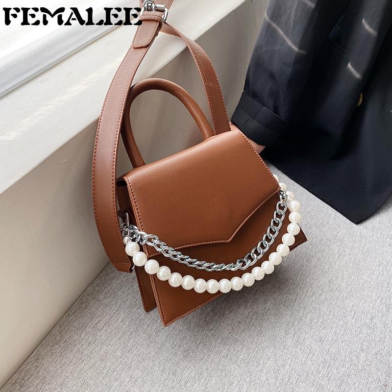 Designer Vintage Women Handbags Chains Handle Female Shoulder Crossbody Bags Girls PU Leather Messenger Purses Luxury Women Bags
