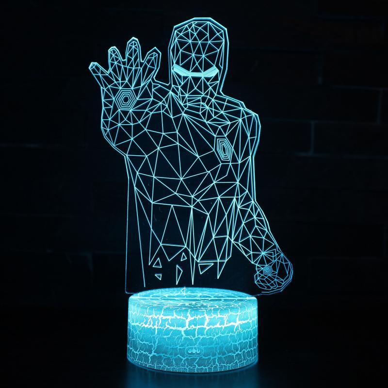 Marvel Avengers 3D Illusion LED Lamps Iron Man Mask Lamp Night Light USB Desk Table Lamp Luminaria Home Decoration Kids Toy Gift