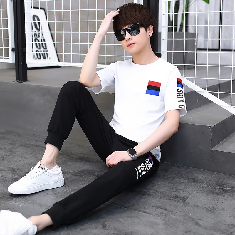 Summer Wear Short Sleeve T-shirt Two-Piece Set 12-16-Year-Old Boys 13 Teenager 14 Junior High School Students 15 Gymnastic Pants