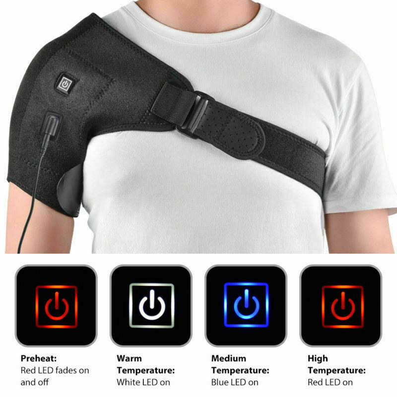 Adjustable Heated Shoulder Wrap Heated Shoulder Brace Single Shoulder Support Hot Cold Therapy Wrap Pad Back Guard
