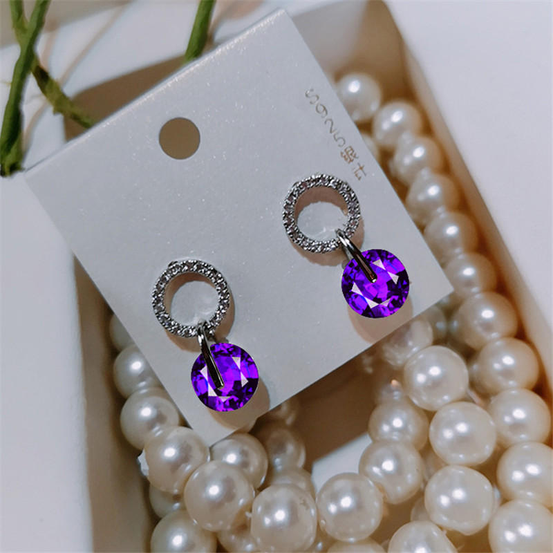 Charm Purple Zircon Wedding Earrings White Gold Small Round Crystal Stone Stud Earrings For Women Promise Christmas Jewelry Gift