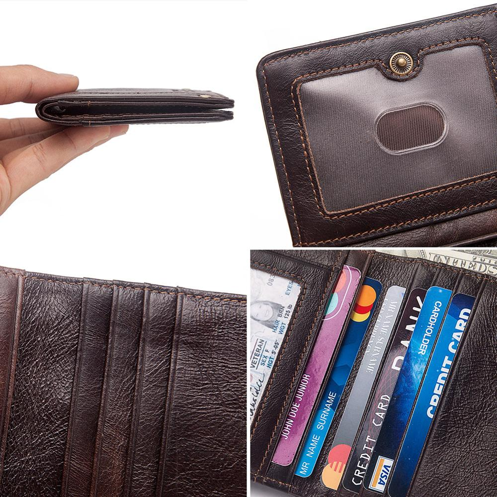 Men Real Leather Black Brown Fashion Stitching Wallet Purse Credit Card Holder