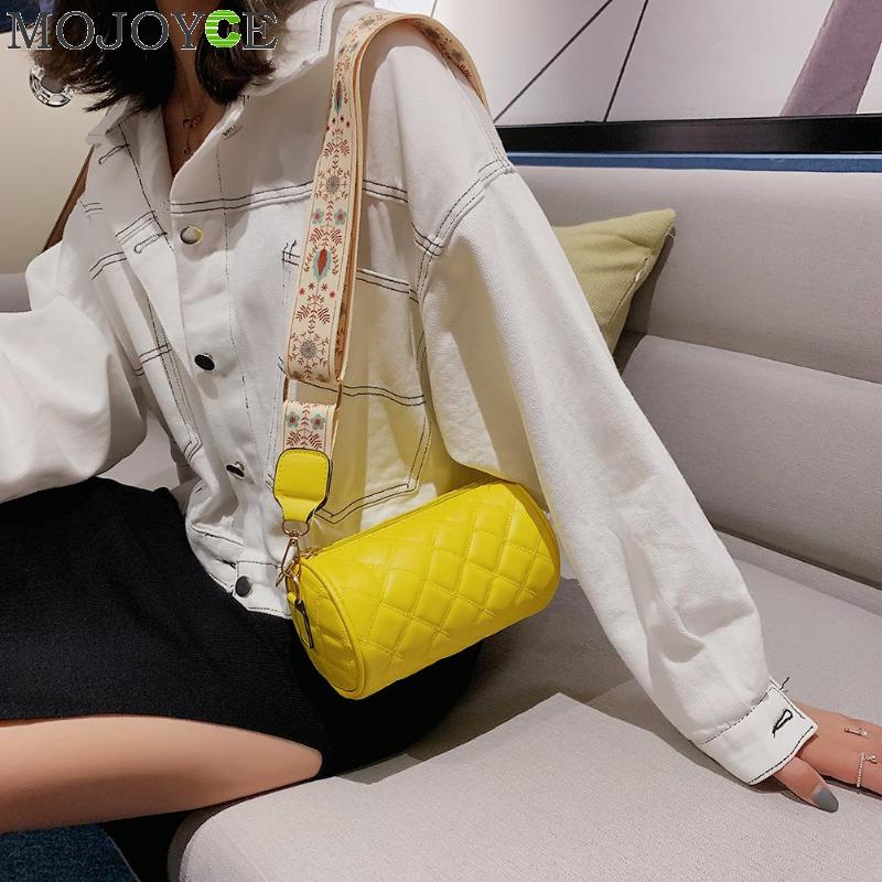 Fashion Women Cylinder Messenger Bag Leather Soft Round Money Purse Retro Ethnic Female Wide Shoulder Bags