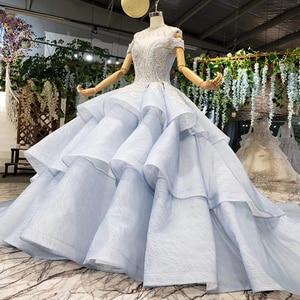 Image 3 - BGW 2020 Sexy V cuello de hombro Teired Ball Gown Organza musulmán Formal Vestidos de Noche de encaje hasta la espalda con cuentas de cristal mujeres vestido
