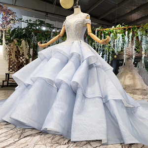 Image 3 - BGW 2020 סקסי V צוואר כבוי כתף Teired כדור שמלת אורגנזה מוסלמי פורמליות ערב שמלות תחרה עד בחזרה חרוזים קריסטל נשים שמלה