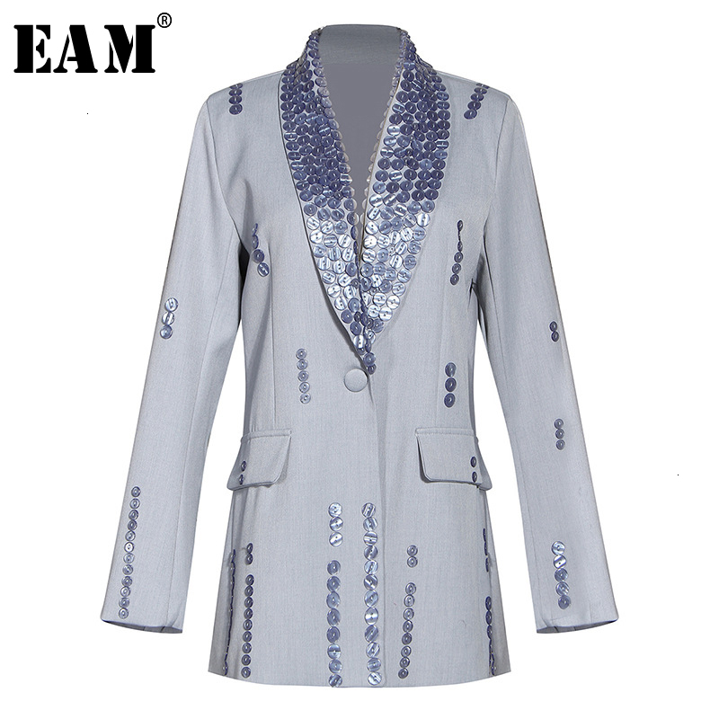 [EAM]  Women Button Spit Joint Short Blazer New Lapel Long Sleeve Loose Fit  Jacket Fashion Tide Spring Autumn 2020 1M881
