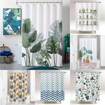 NICETOWN Green plant Shower Curtain Bathroom Waterproof Polyester Shower Curtain Leaves Printing Curtains for bathroom shower vintage postage stamp digital printing mouldproof shower curtain for bathroom