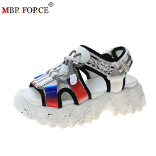 MBR FORCE Chunky Platform Wedge Women Sandals Summer Beach Open Toe Woman Sandalias Breathable Thick Sole Mujer Casual Footwear