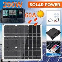 200 Вт 200 Вт комплект солнечной панели Портативный двойной USB с ЖК-контроллер солнечной батареи 12 В складное внешнее мобильное зарядное устро...
