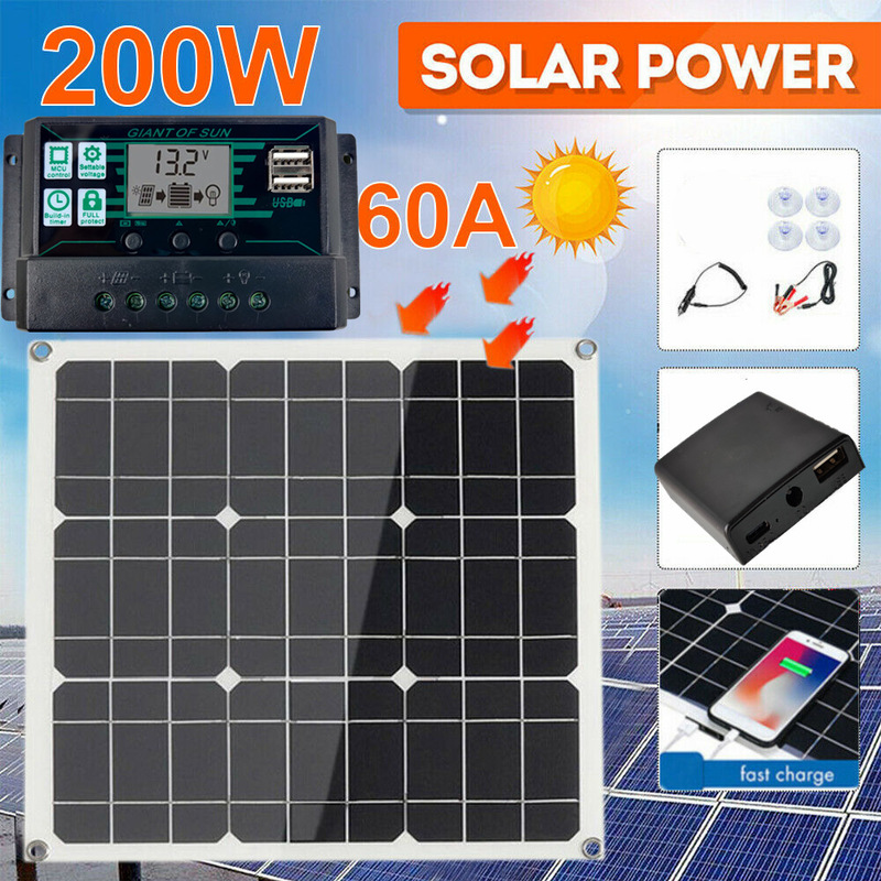 200 watts 200 w painel solar kit portatil duplo usb com lcd controlador solar 12v dobravel