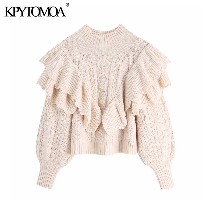 Vintage Stylish Short Style Ruffles Knitted Sweater Women 2020 Fashion High Neck Lantern Sleeve Female Pullovers Chic Tops