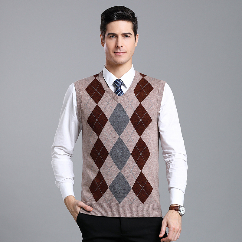 Argyle Sweater Pullover Knit Vest For Men Sleeveless Wool Fashion Casual Slim Fit V Neck Basic Argyle Sweater