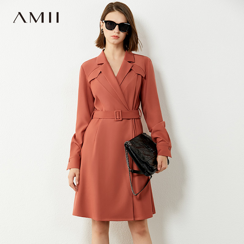 AMII Minimalism Autumn Dresses For Women Fashion Solid Vneck Belt Knee-length Women's Dress Causal Female Dress 12040408