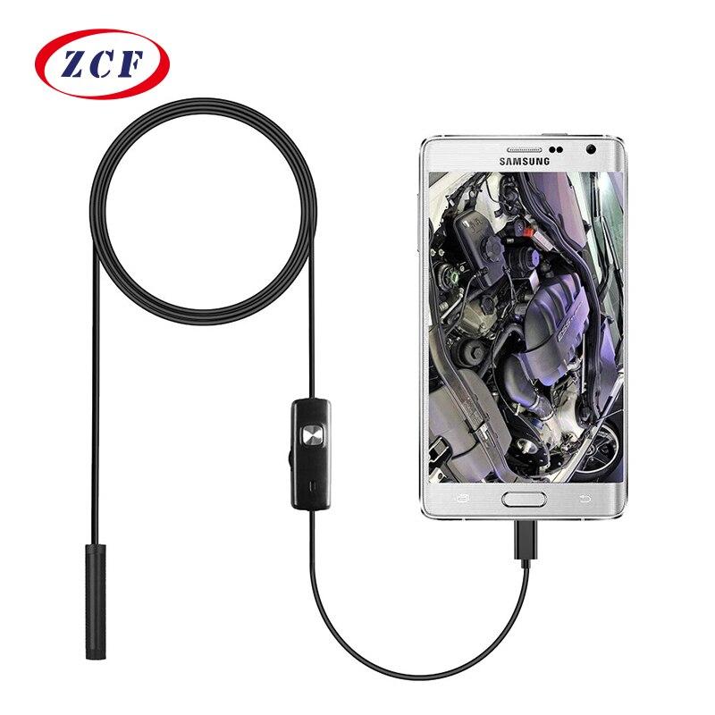 2M Car Endoscope 7mm Endoscope HD USB Android 6 LED Inspection Borescope Camera