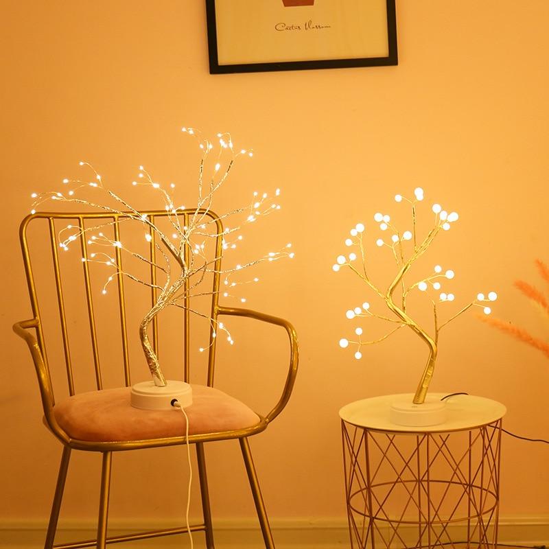 Светодиодный ночник с жемчугом и бонсаем, сенсорный светильник для дерева, гиpsophila, энергосберегающая лампа, домашнее праздничное свадебное...