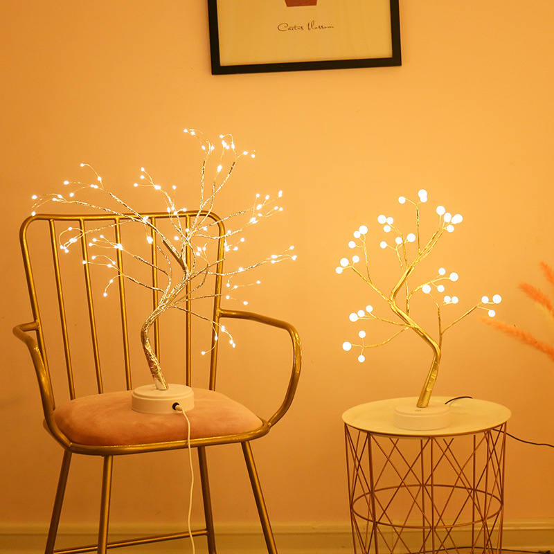 LED Night Light Pearl Bonsai Table Touch Tree Light Gypsophila Light Energy Saving Lamp Home Party Wedding Christmas Decoration